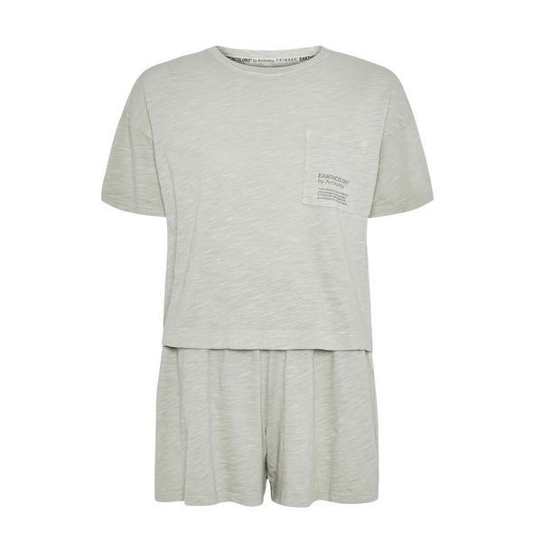 "Kurzer ""Earthcolors By Archroma"" Pyjama aus Bio-Baumwolle, mintgrün"