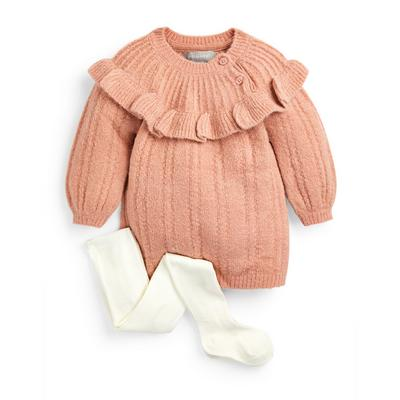 Baby Girl Pink Cable Knit Dress And Tights Set