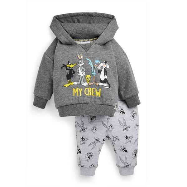 Dekliški pulover s kapuco za prosti čas Looney Tunes za dojenčke, 2 kosa