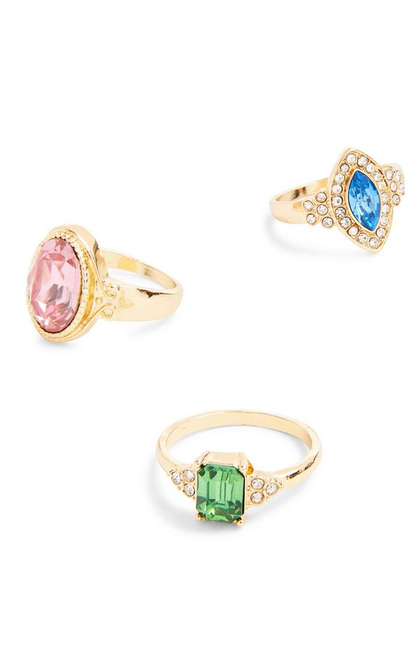 Goldtone Statement Cocktail Rings 3 Pack