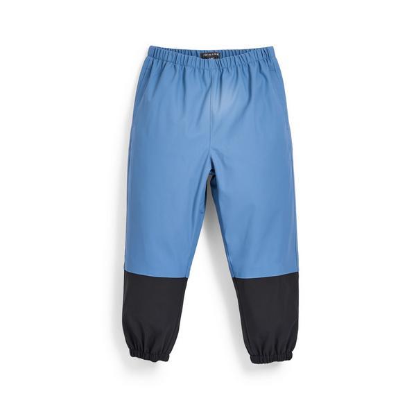 Younger Boy Blue Color Block Rain Pants