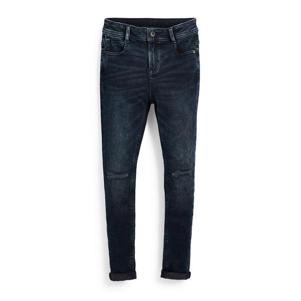 Jeans super skinny blu scuro in denim da ragazzo