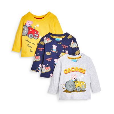 Baby Boy Peppa Pig George Longsleeve T-Shirt 3 Pack