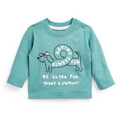 T-shirt manga comprida slogan menino bebé azul