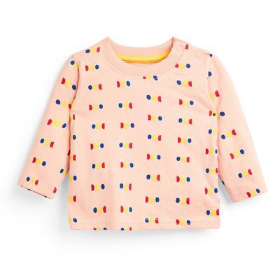 Baby Boy Peach Dot Print Long Sleeve T-Shirt