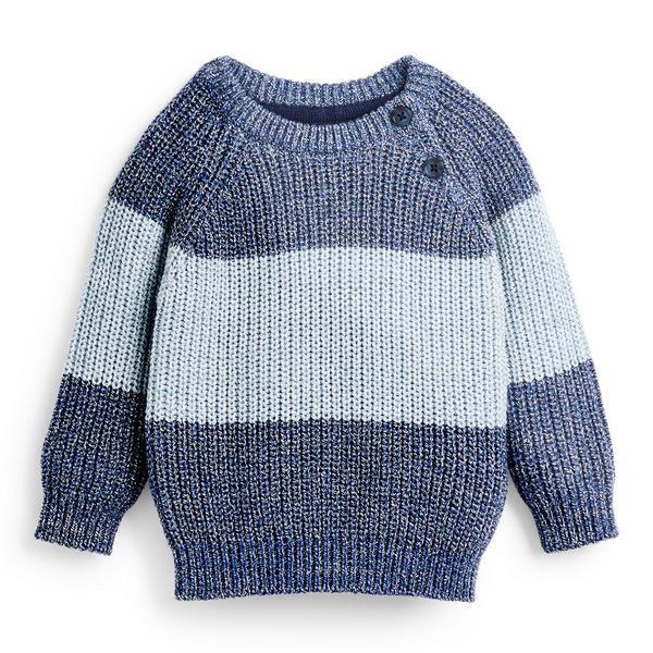 Baby Boy Blue Striped Raglan Crew Neck Sweater
