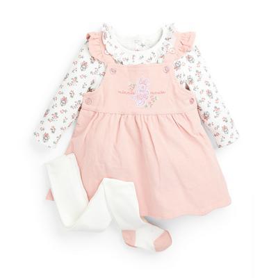Ensemble 3 pièces avec robe chasuble rose Disney Minnie Mouse bébé fille