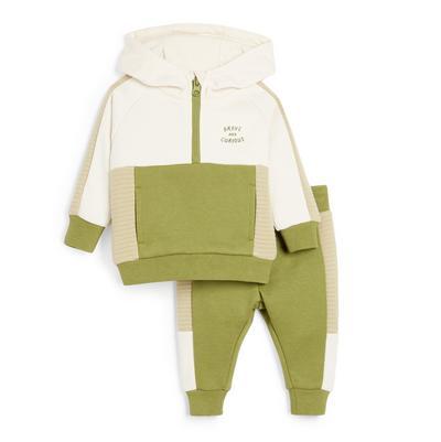 Baby Boy Green Zip Collar Hoodie Set 2 Piece