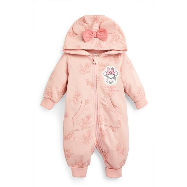 Newborn Baby Girl Disney Minnie Mouse Hooded Romper Suit