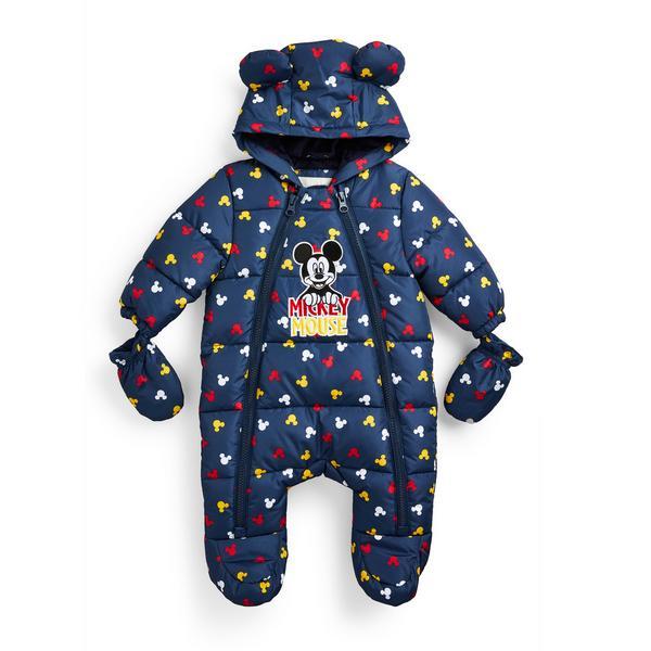 Newborn Baby Boy Navy Disney Mickey Mouse Snowsuit