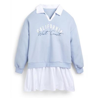 Robe sweat-shirt bleue 2 en 1 ado