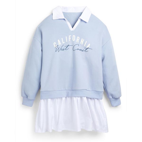 Blauwe 2-in-1 sweaterjurk voor meisjes