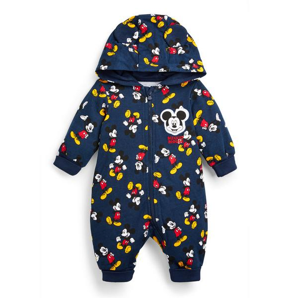 Newborn Baby Boy Navy Mickey Mouse Hooded Romper Suit