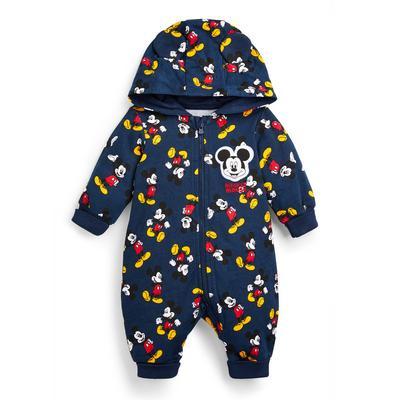 Combinaison barboteuse à capuche bleu marine Mickey Mouse bébé garçon