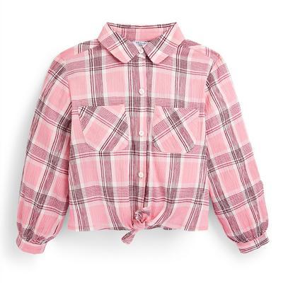 Older Girl Pink Check Shirt