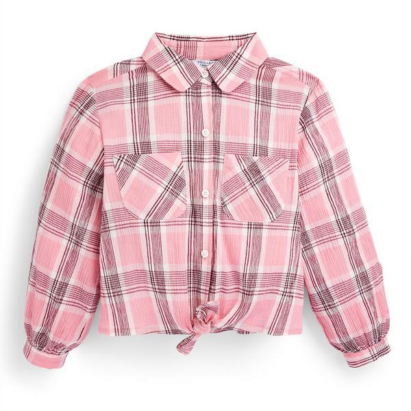 Geruite roze blouse voor meisjes