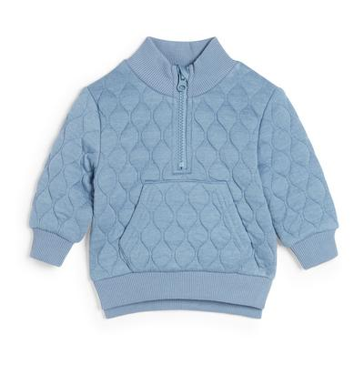 Baby Boy Blue Quilted Funnel Neck Sweater