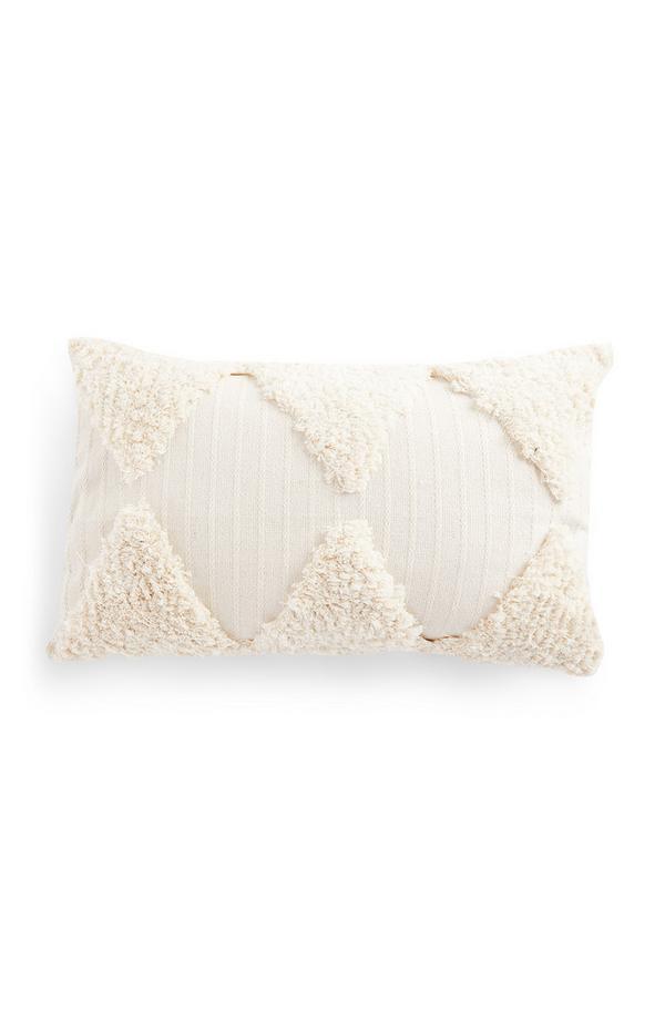 Ivory Tufted Pattern Oblong Cushion