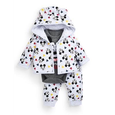 Ensemble 3 pièces avec veste blanc à imprimé Mickey Mouse bébé garçon