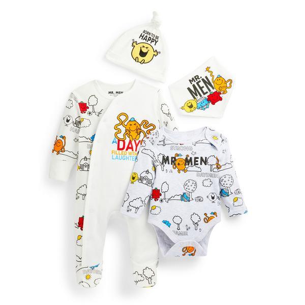 Vierdelig babysetje Mr. Men voor pasgeboren jongens
