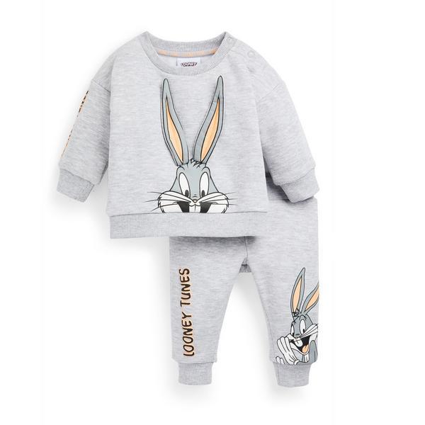 Fantovski siv komplet za prosti čas Looney Tunes Bugs Bunny za dojenčke