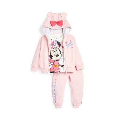 Baby Girl Pink Disney Minnie Mouse Hoodie Set 3 Piece