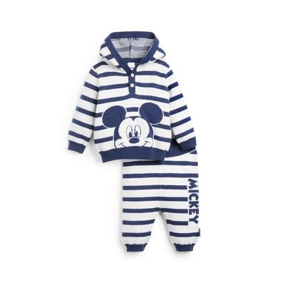 Baby Boy Navy Striped Knitted Disney Mickey Mouse Leisure Set