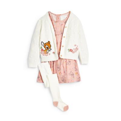 Baby Girl Bambi Dress Cardigan Set, 3 Piece