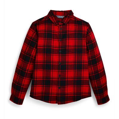 Chemise rouge à carreaux en flanelle ado