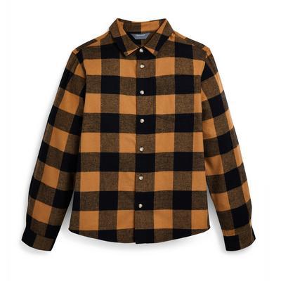 Chemise fauve à carreaux en flanelle ado