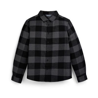 Chemise grise à carreaux en flanelle ado