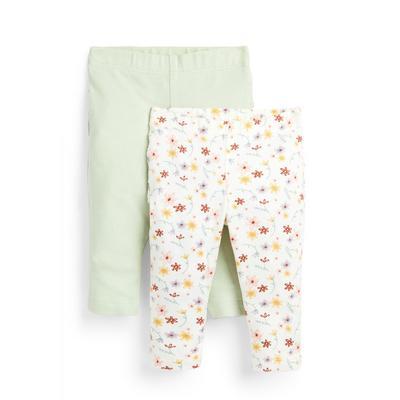 Pack 2 leggings franzidos padrão floral recém-nascida