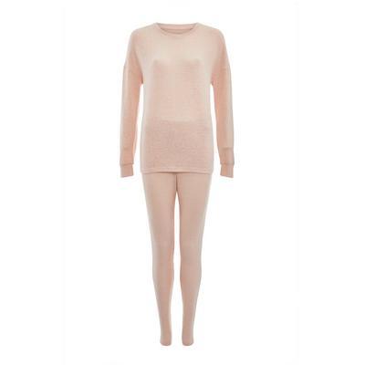 Pink Supersoft Ribbed Pajama Set