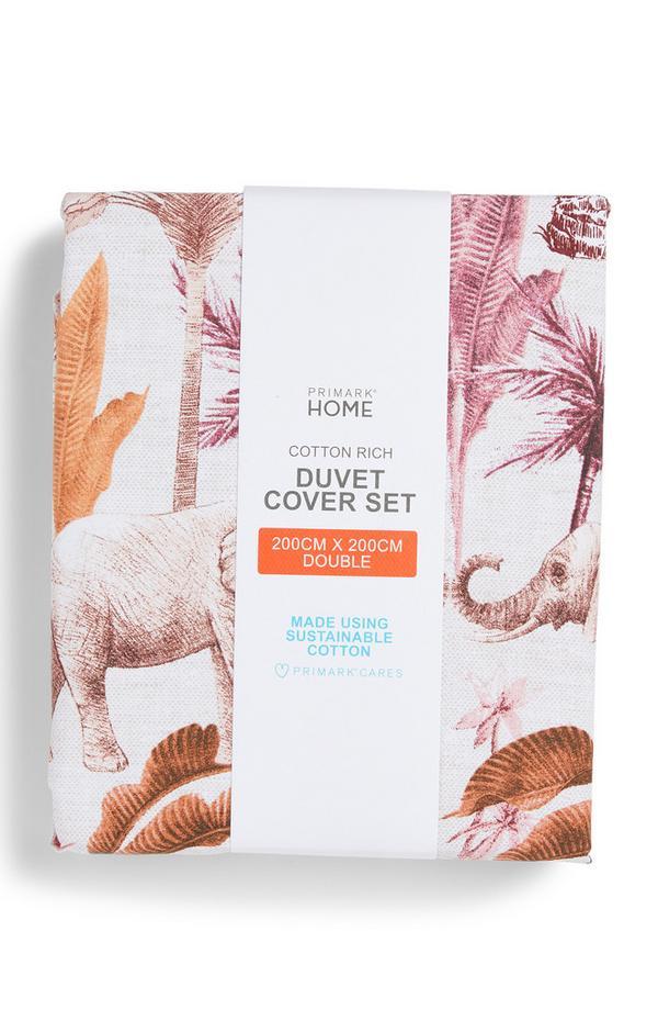 Conjunto capa edredão casal estampado elefante rosa-pálido