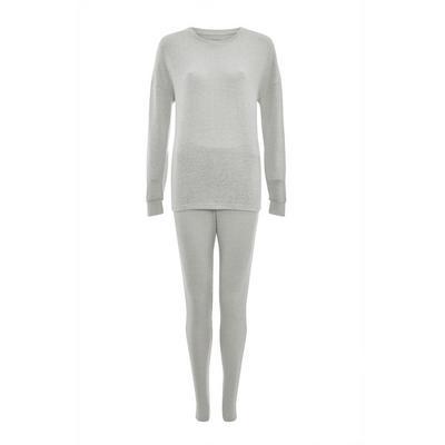 Gray Supersoft Ribbed Pajama Set
