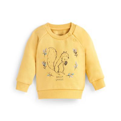 Baby Girl Yellow Squirrel Print Crew Neck Sweater