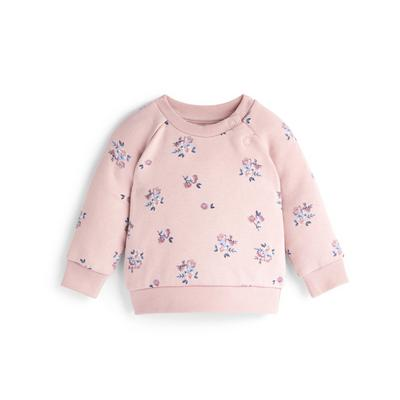 Baby Girl Pink Floral Print Crew Neck Sweater