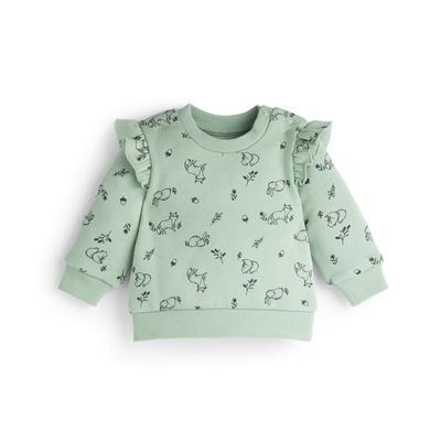 Baby Girl Green Floral Print Crew Neck Sweater