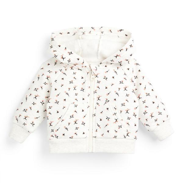 Baby Girl White Floral Print Zip Through Hoodie