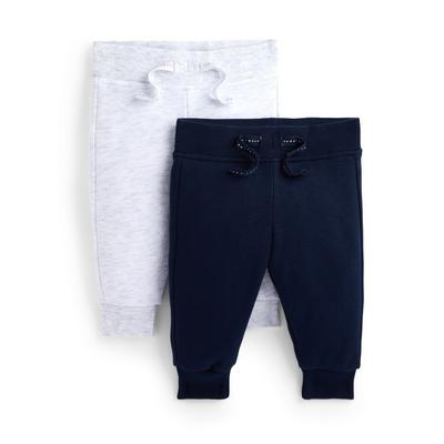 Baby Girl Grey And Navy Joggers 2 Pack