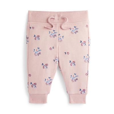 Baby Girl Pink Floral Print Joggers