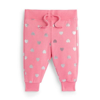 Baby Girl Pink Heart Print Joggers