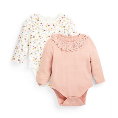 Newborn Baby Girl Pink Bodysuits 2 Pack