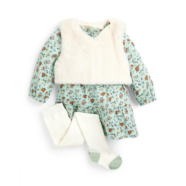 Baby Girl Green Gilet Dress And Tight Set