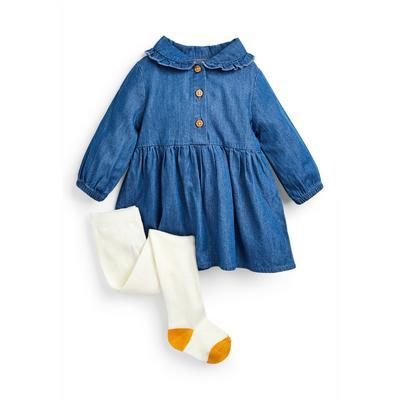 Baby Girl Blue Denim Dress And Tights Set
