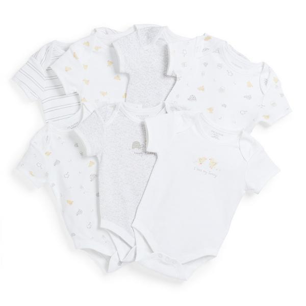 Newborn Baby White Animal Print Bodysuits 7 Pack