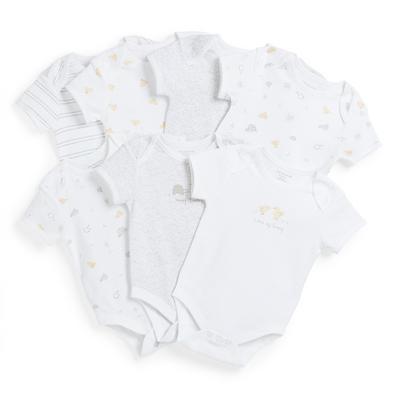 Witte rompertjes met dierenprint voor pasgeborenen, set van 7