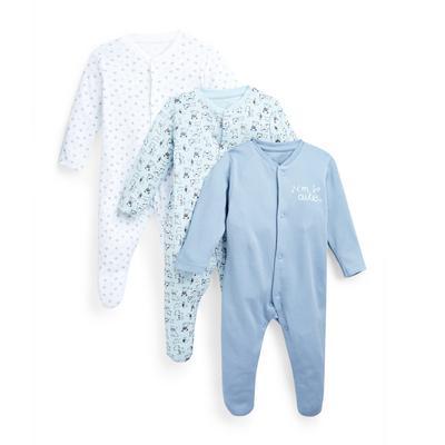 Baby Boy Dog Print Sleepsuits 3 Pack