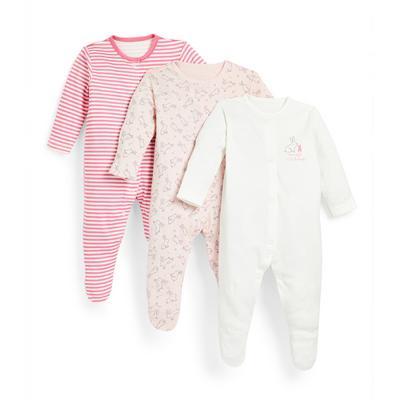 Roze babyslaappakjes met konijnenprint voor meisjes, set van 3
