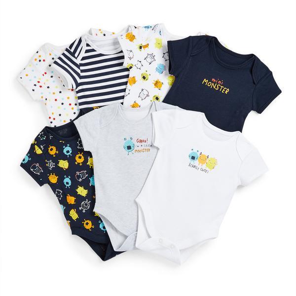 Newborn Baby Boy Monster Print Bodysuits 7 Pack